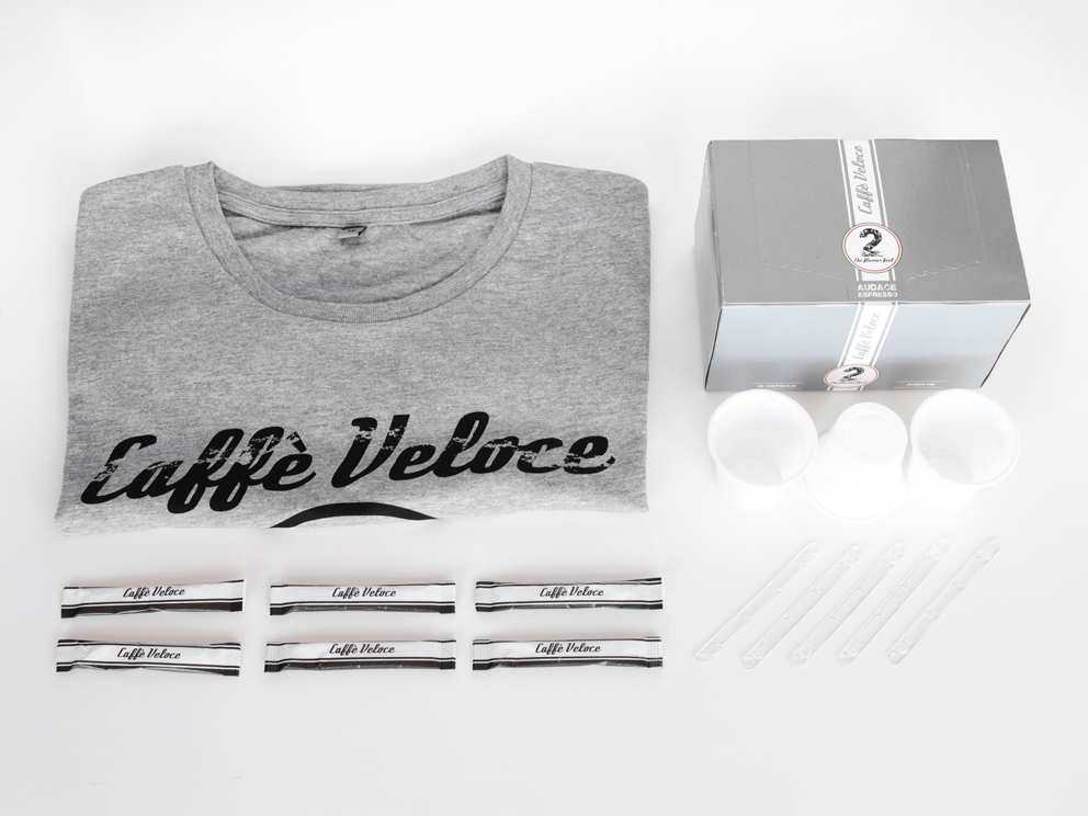 Flat Torque Audace - Coffee capsules, sugar, plastic cups and spoons, t-shirt